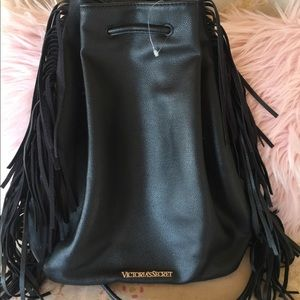 Victoria secret fringe black backpack bag
